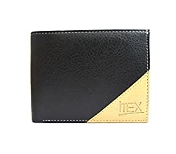 iMEX Mens Black & Beige Artificial Leather Wallet