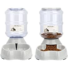 Automatischer Futterspender,Haustier Futterautomat,Futter und Wasserspender,Hund Schüssel,Automatik für Hund Katze im Set,jeweils 3.8 L von Ayuboom