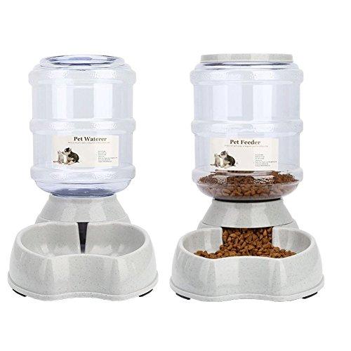 *Automatischer Futterspender,Haustier Futterautomat,Futter und Wasserspender,Hund Schüssel,Automatik für Hund Katze im Set,jeweils 3.8 L von Ayuboom*