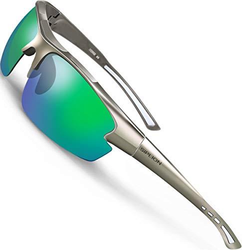 SIPLION Herren Sonnenbrille UV400 Schutz Polarisiert Superleichtes Rahmen 502 Gray+Green