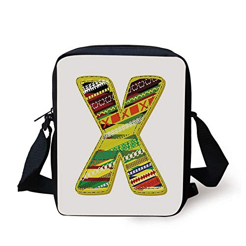 Letter X,Artistic Oriental Styled X Letter Caricature Forename Native American Lines Print Decorative,Multicolor Print Kids Crossbody Messenger Bag Purse