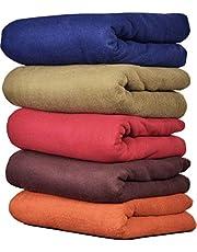 GOYAL'S Plain Fleece Single Bed Blanket (58X88 Inch, Multicolour) - Pack of 5