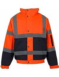 My Shoe Store® hombres hi viz de trabajo de alta visibilidad BOMBER chaqueta para hombre desgaste impermeable acolchado con capucha Chaquetas