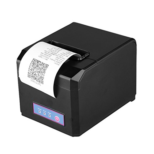 Excelvan 300mm/Sec 80mm AUTO-CUT Taglio Automatico Termica Ricevuta POS Stampante USB Ethernet Serial Port Nero EU