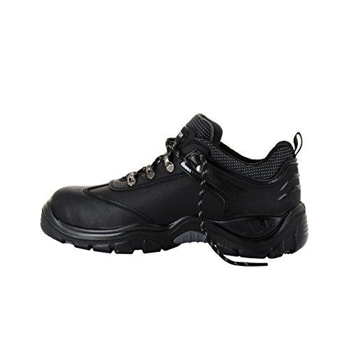 FOXTER - Chaussures de sécurité Basses Shark - Robustes et Ultra confort - Cuir Gras - Homme/Mixte - S3 SRC WRU HRO Noir