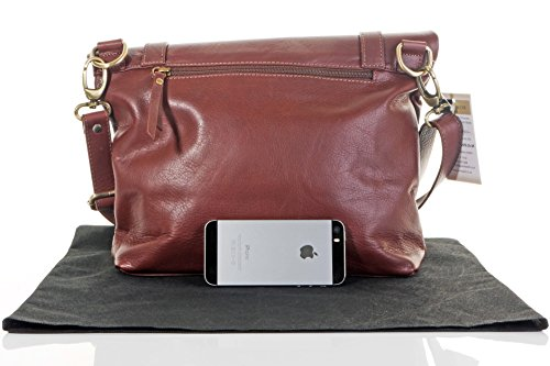 Italiano in pelle morbida borsa elegante stile Turn Over Turnlock spalla o borsa a tracolla borsa con tracolla regolabile.Fornita nella pratica custodia protettiva marca Mid Brown
