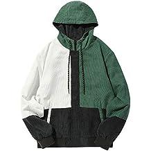Abrigo para Hombre,Hombres Manga Larga Pana Color Bloque Patchwork Pana Chaqueta con Capucha Abrigo