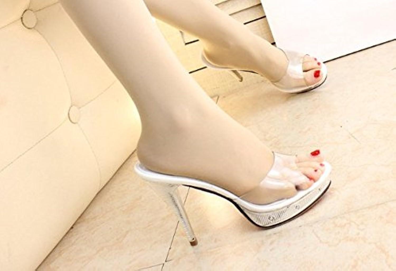 AWXJX Temporada de verano Chanclas Mujer Diamante artificial Zapato Abierto tacón alto fina con resistentes al desgaste luz antideslizante Negro 7 US/37.5 EU/4.5 UK 7 US/37.5 EU/4.5 UK|Negro