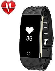 YAMAY® HR4 Fitness Tracker mit Pulsmesser Uhr,Wasserdicht IP67 Fitness Armband Pulsuhren Aktivitätstracker Bluetooth Smart Armband Schrittzähler für iOS und Android Handys