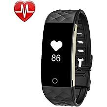 Pulsera Inteligente con Pulsómetro,YAMAY® HR4 Pulsera Monitor de Actividad Ritmo Cardíaco,Impermeable IP67 Reloj Fitness Bluetooth Pulsera Deportiva Fitness Podómetro Para Android y IOS