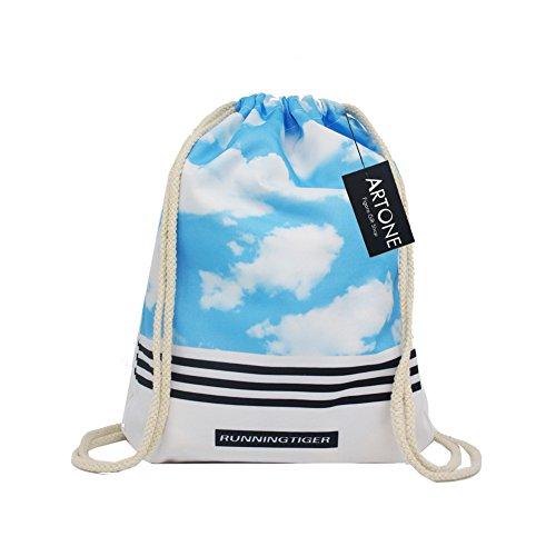 Artone Poliéster Con Cordón Bolso Viajar Daypack Deportes Portátil Mochila Nubes De Cielo Azul