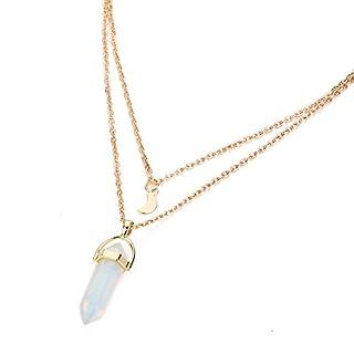 OBSEDE Weiß Edelstein Birthstone Anhänger Zwei Schichten Metall Kette Halskette Schmuck Geschenke