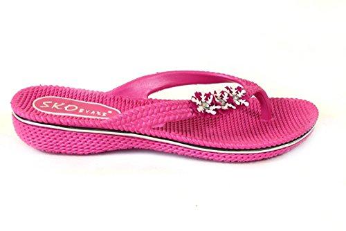 Damen Blume Pantoletten Flach Sommer Sandalen Flip Flops Strand Jelly Schuhe Größe Fuisha Pink (630)
