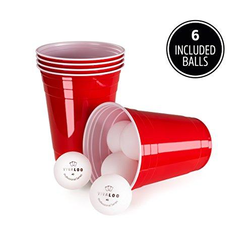 Stück mit 6 Bällen | Beer Pong Party Cups | Extra Starke Bierpong Becher Rot | Kunststoffbecher | Plastikbecher | Original USA Turnierbecher | Camping | Wiederverwendbar | 16oz 473ml | Vivaloo (Kunststoff Bier Becher)