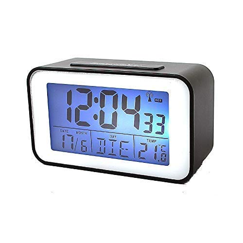 Soytich Funkuhr mit Thermometer Funkwecker Wecker Uhr in schwarz (SN4491s)