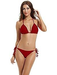 zeraca Damen Seitlich Gebunden Bikinihose Triangel Bikini Bademode 6cbb8d93e0