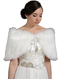 cb4734c9b9e Angel Star Faux Fur Ivory Wrap Bridal Bridesmaids Wedding S M L