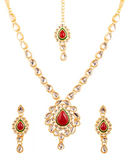 Touchstone Indian bollywood Kundan look cabochon red faux ruby and Jaipuri meenakri designer bridal jewelry haar necklace set in gold tone.  available at amazon for Rs.449