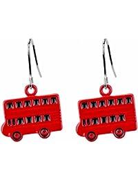 Drop pendientes autobús rojo de Londres doble decker fabricada con esmalte por Joe Cool