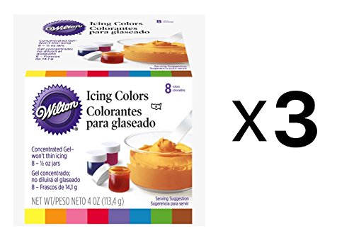Wilton Set Of 8 Icing Colors For Cake Decorating Fondant Frosting 1/2oz (3-Pack) 1/2 Oz Glas