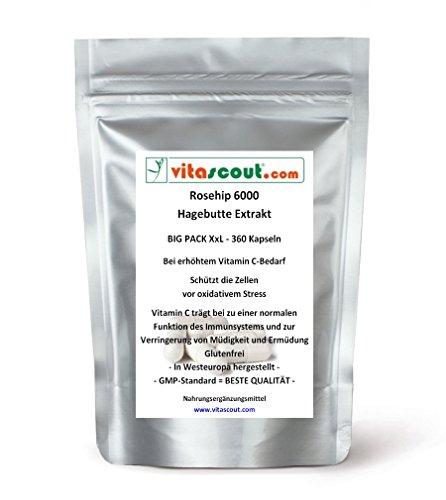 Rosehip/Hagebutte Extrakt 6000-360 Kapseln - SB*: Arthrose, Gelenke, Anti-Aging - PN: 0301159