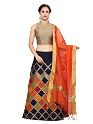 Inddus Blue Banarasi Cotton Semi Stitched Lehenga Set
