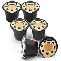 Zhongke Filtros de café desechables Paquete de 6 cápsulas reusables café Vainas recargables Máquinas Nespresso