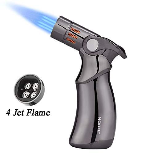 TOPKAY 4 Jet Flamme Feuerzeug, Zigarrenanzünder, Winddichte Butan-Fackel, nachfüllbares Gas-Feuerzeug für Backen, Grillen, Creme Brulee, Löten, Camping Aktivität