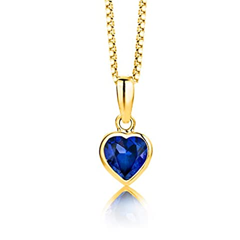 Byjoy 925 Gold Plated Heart Shaped Blue Sapphire Pendant on