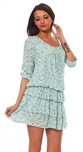 Moda Italy Damen Bluse Tunika Kleid Minikleid Sommerkleid Baumwolle Oberteil Rock Strandkleid Longshirt Carmenbluse Mint
