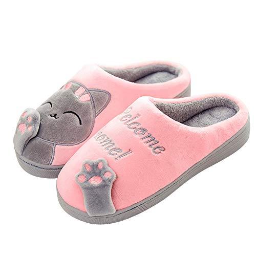 SAGUARO Winter Baumwolle Pantoffeln Plüsch Wärme Weiche Hausschuhe Kuschelige Home Rutschfeste Slippers mit Cartoon für Herren Damen Katze Pink 38