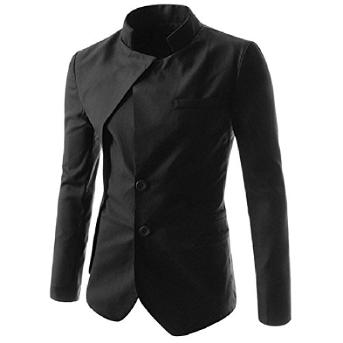 CuteRose Men Stylish Fake Two Single-breasted Dovetail Silm Fit Jackets Blazers Black M