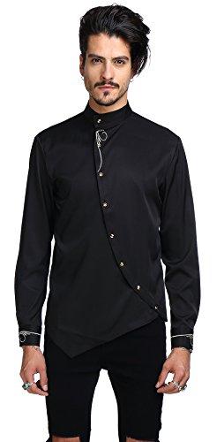 Whatlees camicia casual elegante uomo - con design ricamato ed asimmetrico a maniche lunghe nera