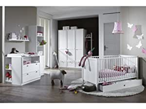 Babyzimmer Kinderzimmer Schrank Wickelkommode Bett Filou 3-teilig Alpinweiß