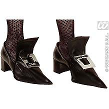 Widmann 3387W, Hexen - Überschuhe mit metallisierten, großen Schuhschnallen für Hexenkostüm oder Barock Kostüm zu Halloween oder Karneval