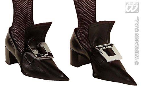 - Überschuhe mit metallisierten, großen Schuhschnallen für Hexenkostüm oder Barock Kostüm zu Halloween oder Karneval (Halloween Schuhe)