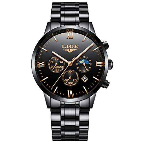 Herren Sport Uhren,Herren Uhr Analog Quarz mit Edelstahl Armband 9831