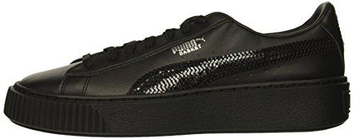 PUMA Unisex Basket Platform Bling Kids Sneaker Black  3 M US Little
