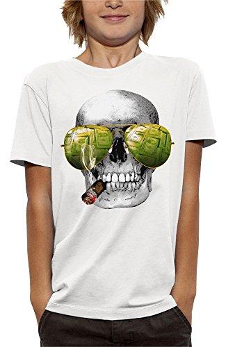 PIXEL EVOLUTION 3D animierte T-Shirt SCHÄDEL Cigar Casino in Augmented Reality Kind - größe 3/4 Jahre - Weiß