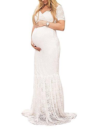 Elegantes Damen Umstandskleid Mutterschaft Fotografie Kleid Schwangerschafts Kleid Spitzenkleid Empire Kleid Spitzen Rundhals Kurz-sleeved V-Ausschnitt MaxiKleid Weiß (Spitzenkleid Foto)