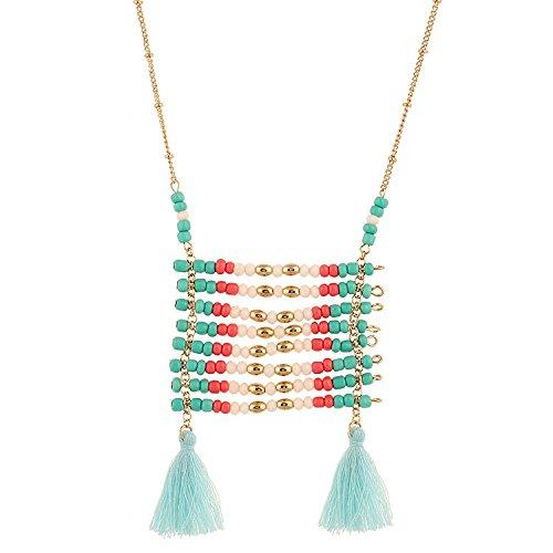 FTHIYK Dame Vintage Ethno-Stil Hand Stricken Beizhu Halskette (Stricken Zusammen Kleid)