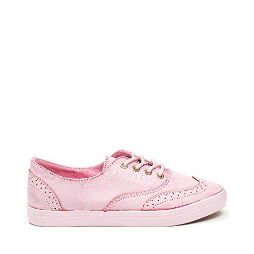 Ideal Shoes - Baskets en similicuir style richelieu Montana Rose