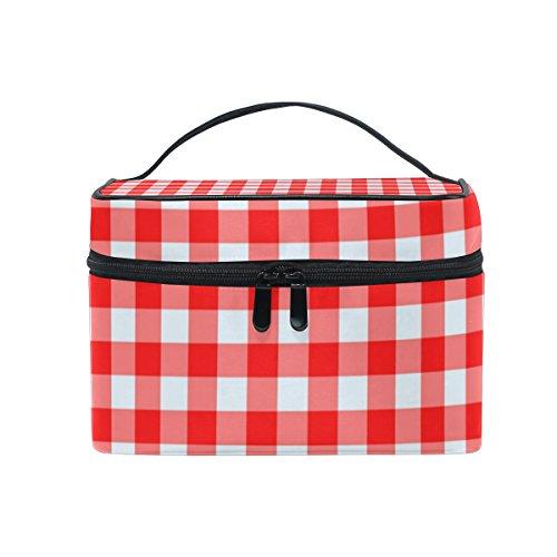 ALAZA Sac cosmétique rouge et blanc à carreaux vichy à carreaux Stripe Maquillage Voyage cas de stockage organisateur