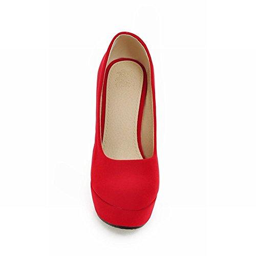 Mee Shoes Damen Nubukleder Plateau high heels Pumps Rot