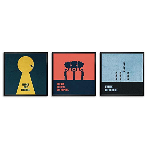 "LAB NO 4 Flexible, Believe, Think Different Corporate Startup Business Quotes Framed Poster In (8"" X 8\"") Size (Set of Three)"