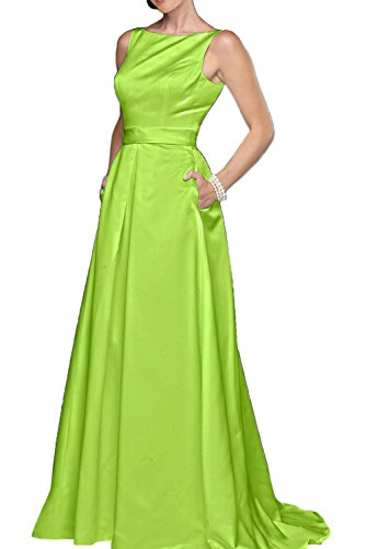 Gorgeous Bride Klassisch Traeger Einfach A-Linie Lang Satin Abendkleider Cocktailkleider Brautmutterkleider Hellgrün