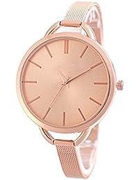 Delicado reloj de cuarzo para mujer, acero inoxidable, color dorado