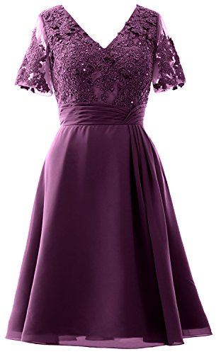 MACloth Elegant V Neck Mother of the Bride Dress Half Sleeve Short Formal Gown Eggplant
