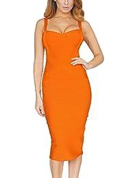 HLBandage Spaghetti Strap Women's Midi Bandage Dress