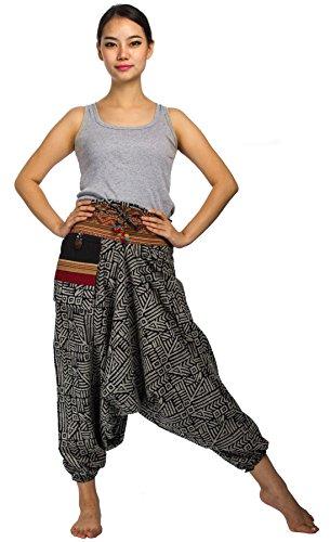 Lofbaz Donna Pantaloni da Triangle dell'Hhmong in Cotone Disegnato Design # 4 Batik in bianco e nero